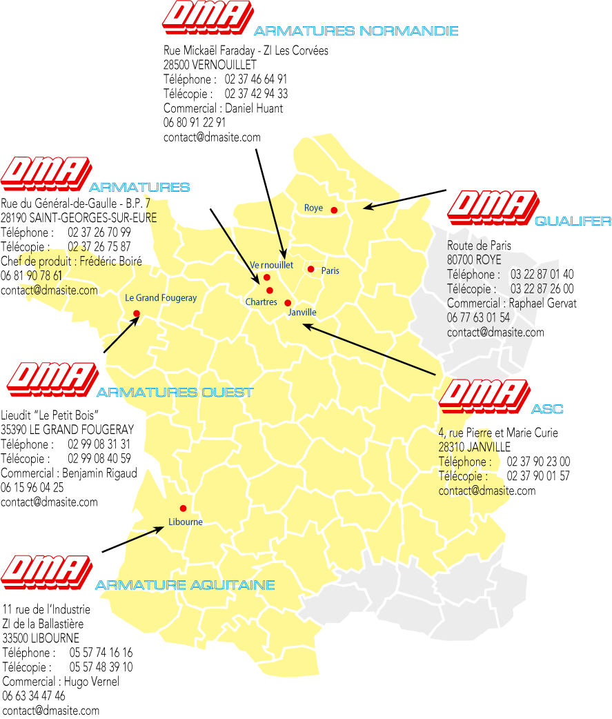 Filiale du groupe DMA armatures, qui dispose de 6 sites de production sur l'ensemble du territoire (nord de la France, région parisienne, ouest, sud-ouest),